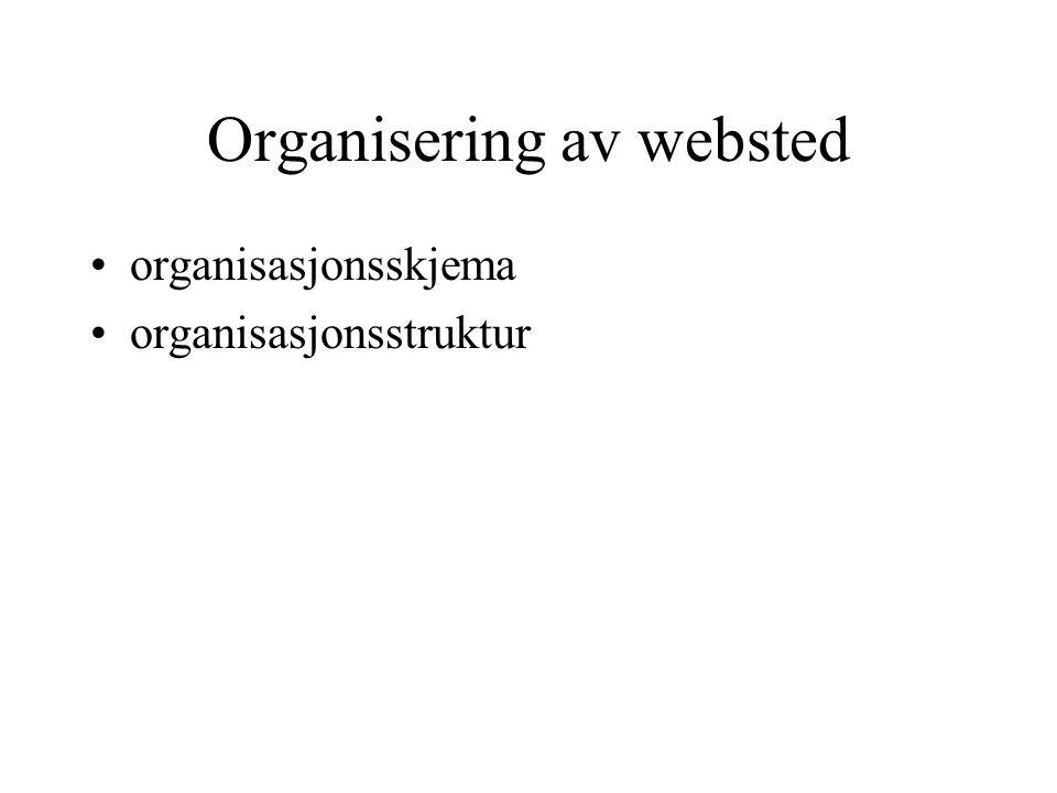 Organisering av websted organisasjonsskjema organisasjonsstruktur