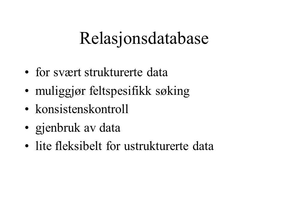 Relasjonsdatabase for svært strukturerte data muliggjør feltspesifikk søking konsistenskontroll gjenbruk av data lite fleksibelt for ustrukturerte dat