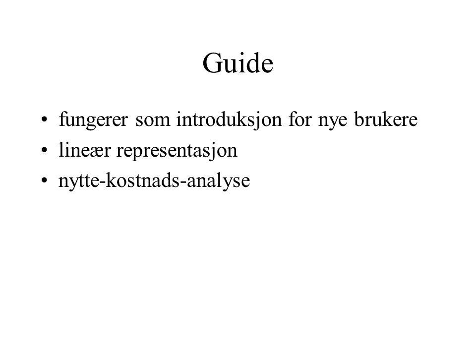 Guide fungerer som introduksjon for nye brukere lineær representasjon nytte-kostnads-analyse