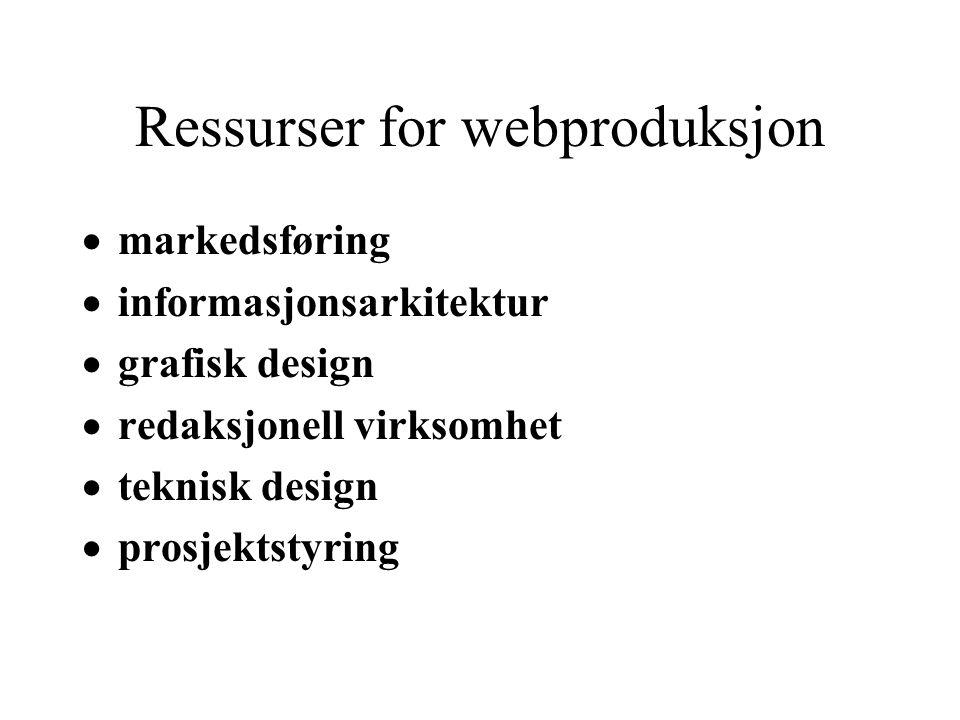 Ressurser for webproduksjon  markedsføring  informasjonsarkitektur  grafisk design  redaksjonell virksomhet  teknisk design  prosjektstyring