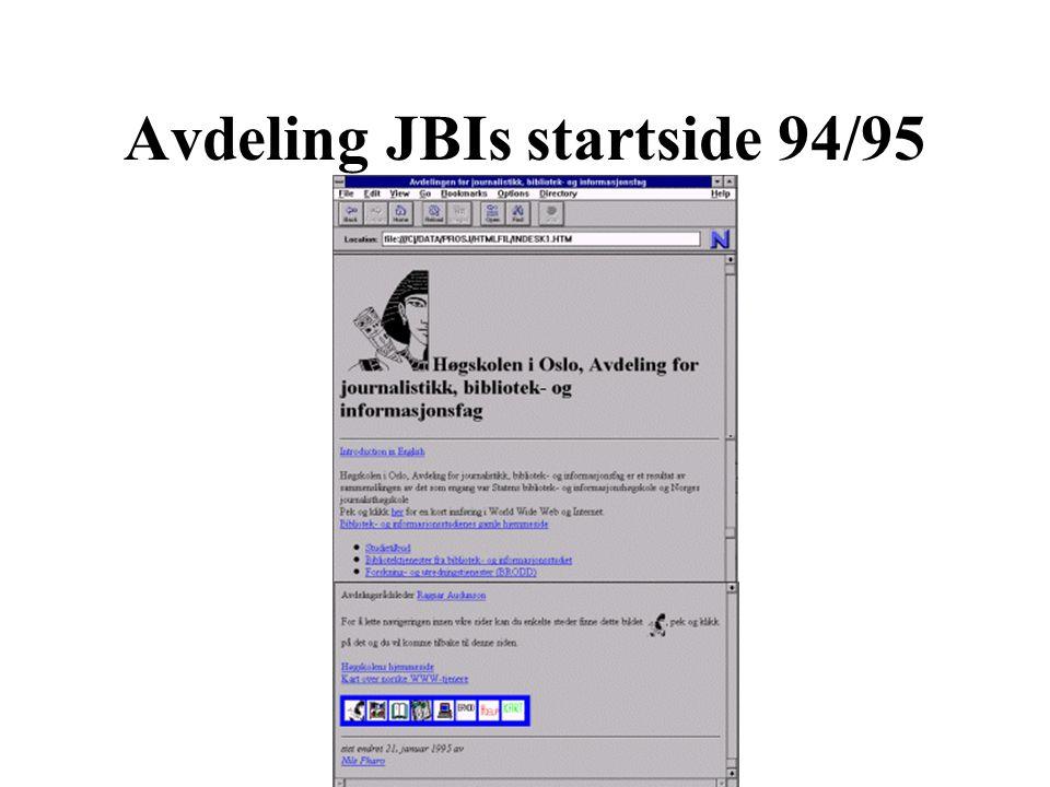 Avdeling JBIs startside 94/95