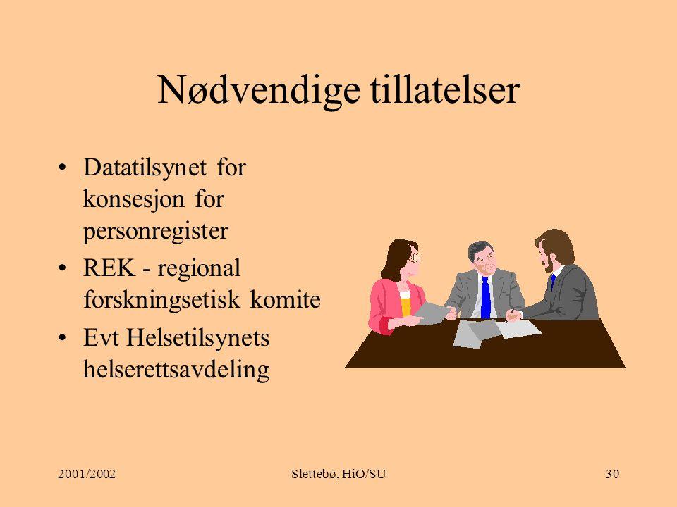 2001/2002Slettebø, HiO/SU29 Samtykkeformular (fra SSN): Rett til frivillig deltakelse Rett til å trekke seg uten konsekvenser Beskrive risiko eller ubehag Sikring av anonymitet og fortrolighet i anvendelsen av opplysninger i prosjektet Kontaktperson for prosjektet Kopi av samtykkeformular til personen