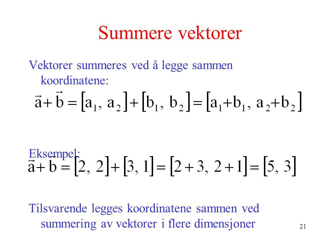 21 Summere vektorer Vektorer summeres ved å legge sammen koordinatene: Eksempel: Tilsvarende legges koordinatene sammen ved summering av vektorer i flere dimensjoner