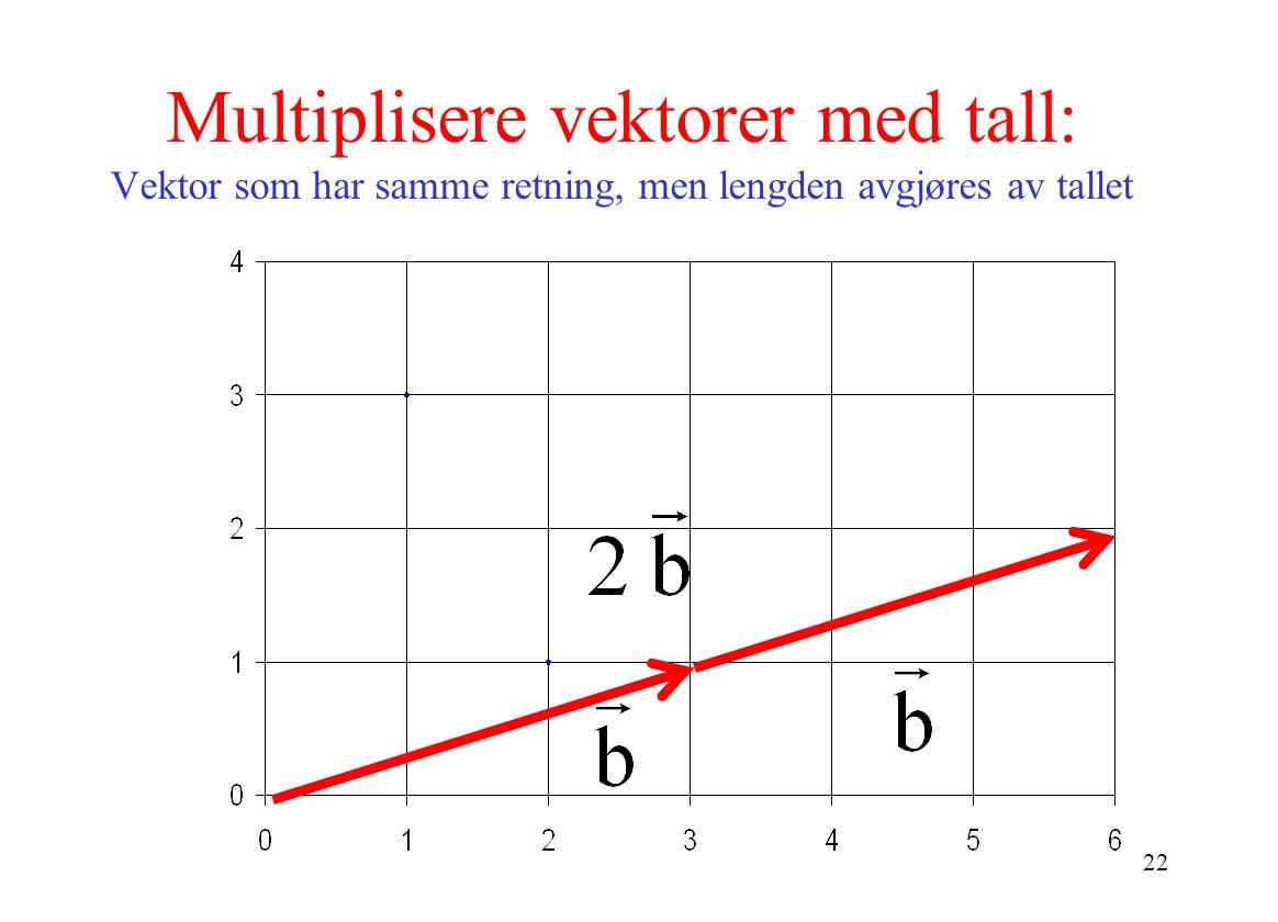 22 Multiplisere vektorer med tall: Vektor som har samme retning, men lengden avgjøres av tallet