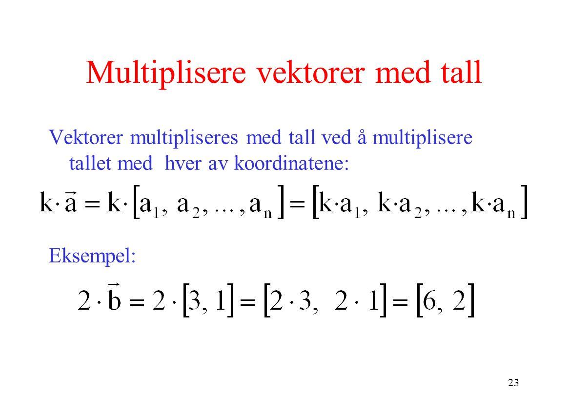 23 Multiplisere vektorer med tall Vektorer multipliseres med tall ved å multiplisere tallet med hver av koordinatene: Eksempel:
