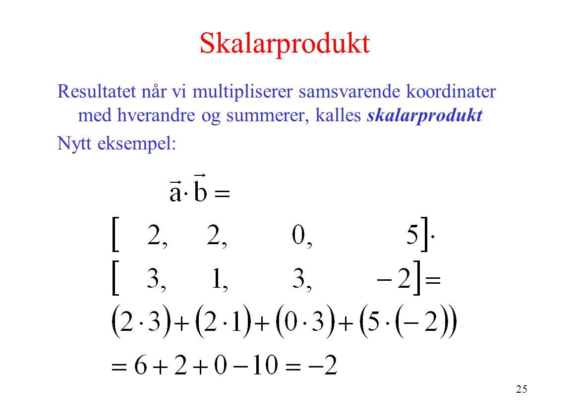 25 Skalarprodukt Resultatet når vi multipliserer samsvarende koordinater med hverandre og summerer, kalles skalarprodukt Nytt eksempel: