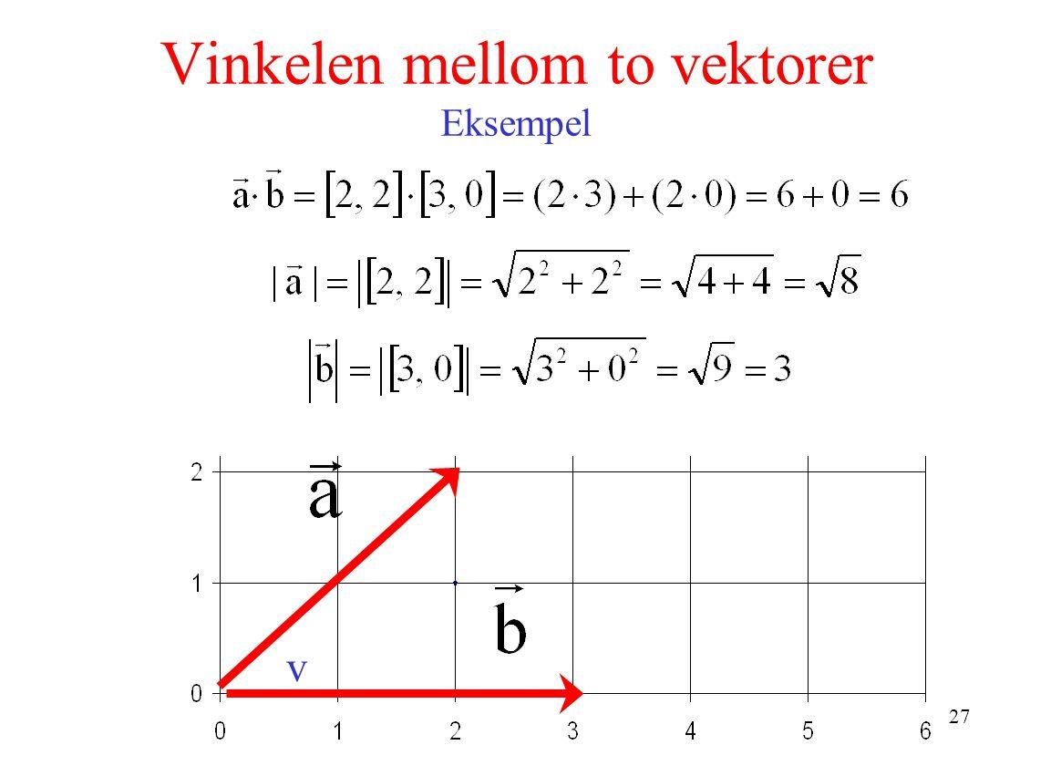 27 Vinkelen mellom to vektorer Eksempel v