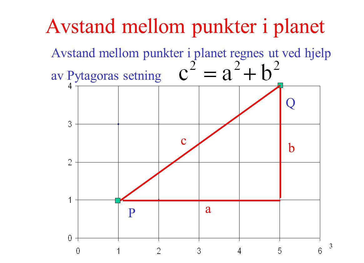 3 Avstand mellom punkter i planet Avstand mellom punkter i planet regnes ut ved hjelp av Pytagoras setning P Q a b c