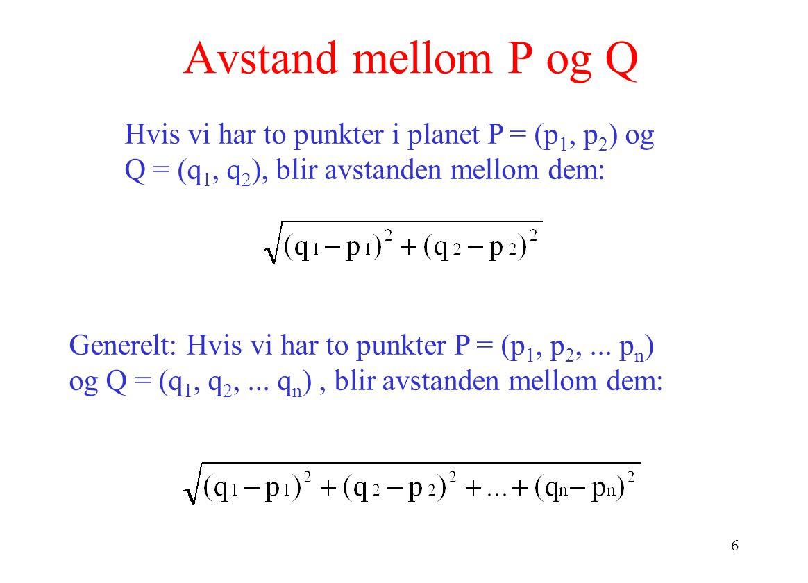 6 Avstand mellom P og Q Generelt: Hvis vi har to punkter P = (p 1, p 2,...