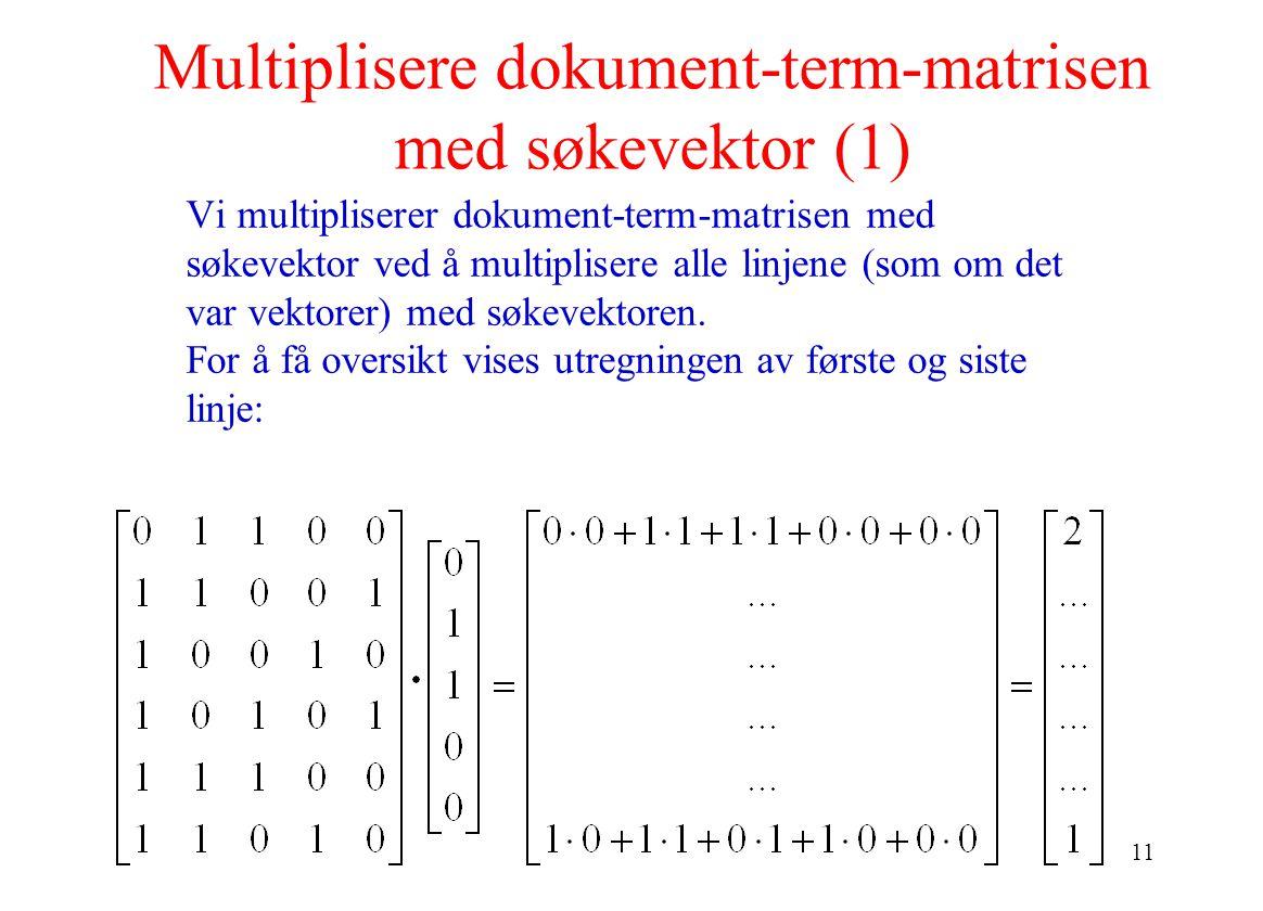 11 Multiplisere dokument-term-matrisen med søkevektor (1) Vi multipliserer dokument-term-matrisen med søkevektor ved å multiplisere alle linjene (som