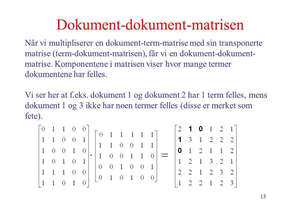 13 Dokument-dokument-matrisen Når vi multipliserer en dokument-term-matrise med sin transponerte matrise (term-dokument-matrisen), får vi en dokument-