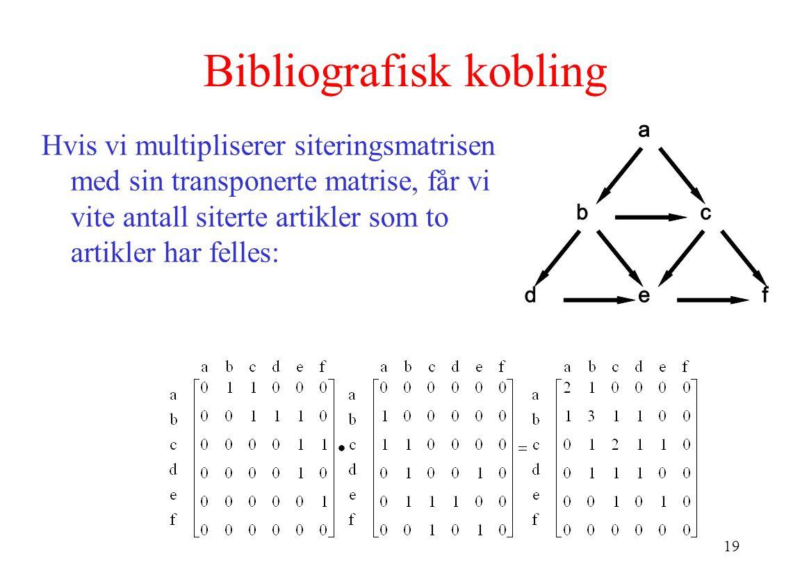 19 Bibliografisk kobling Hvis vi multipliserer siteringsmatrisen med sin transponerte matrise, får vi vite antall siterte artikler som to artikler har