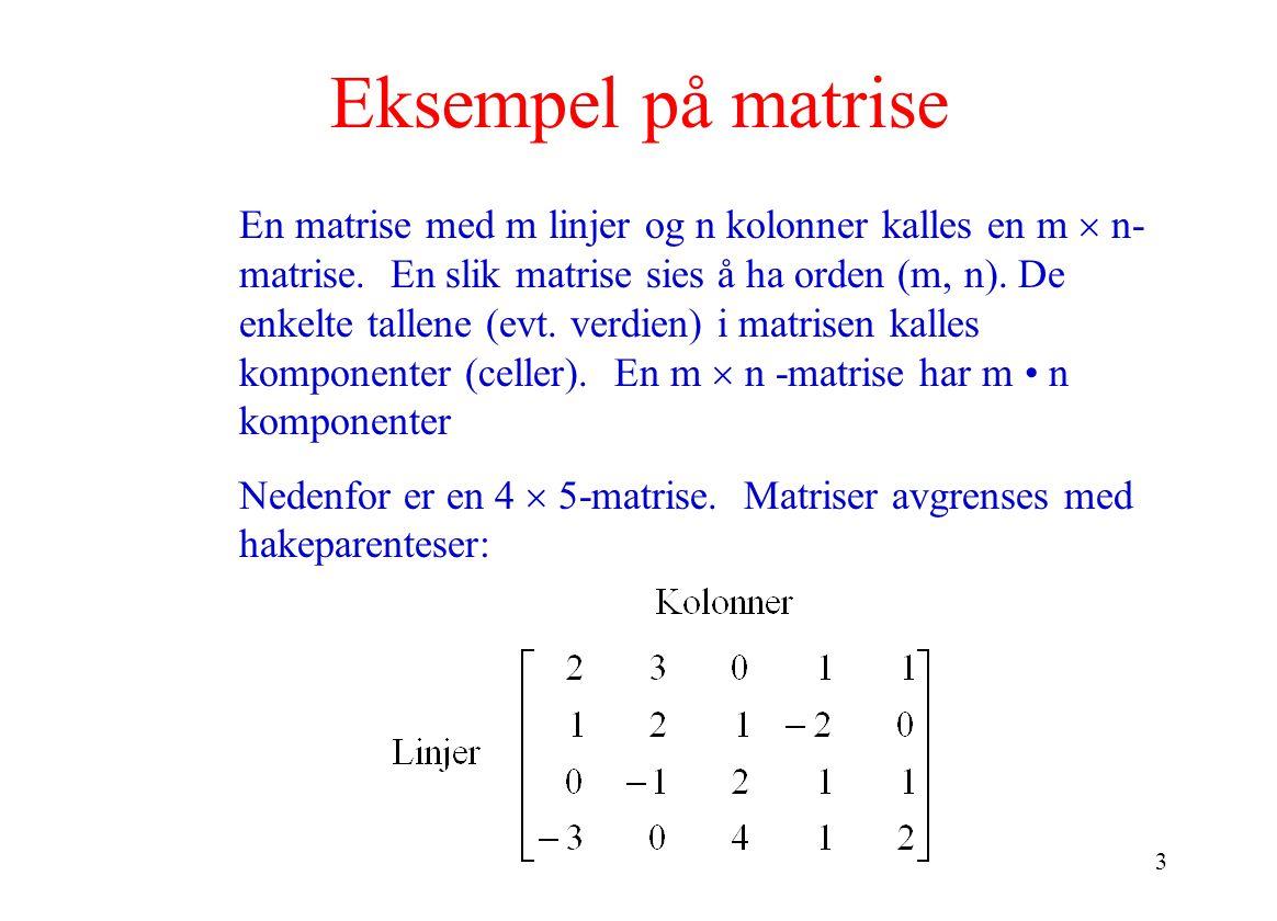 3 Eksempel på matrise En matrise med m linjer og n kolonner kalles en m  n- matrise. En slik matrise sies å ha orden (m, n). De enkelte tallene (evt.