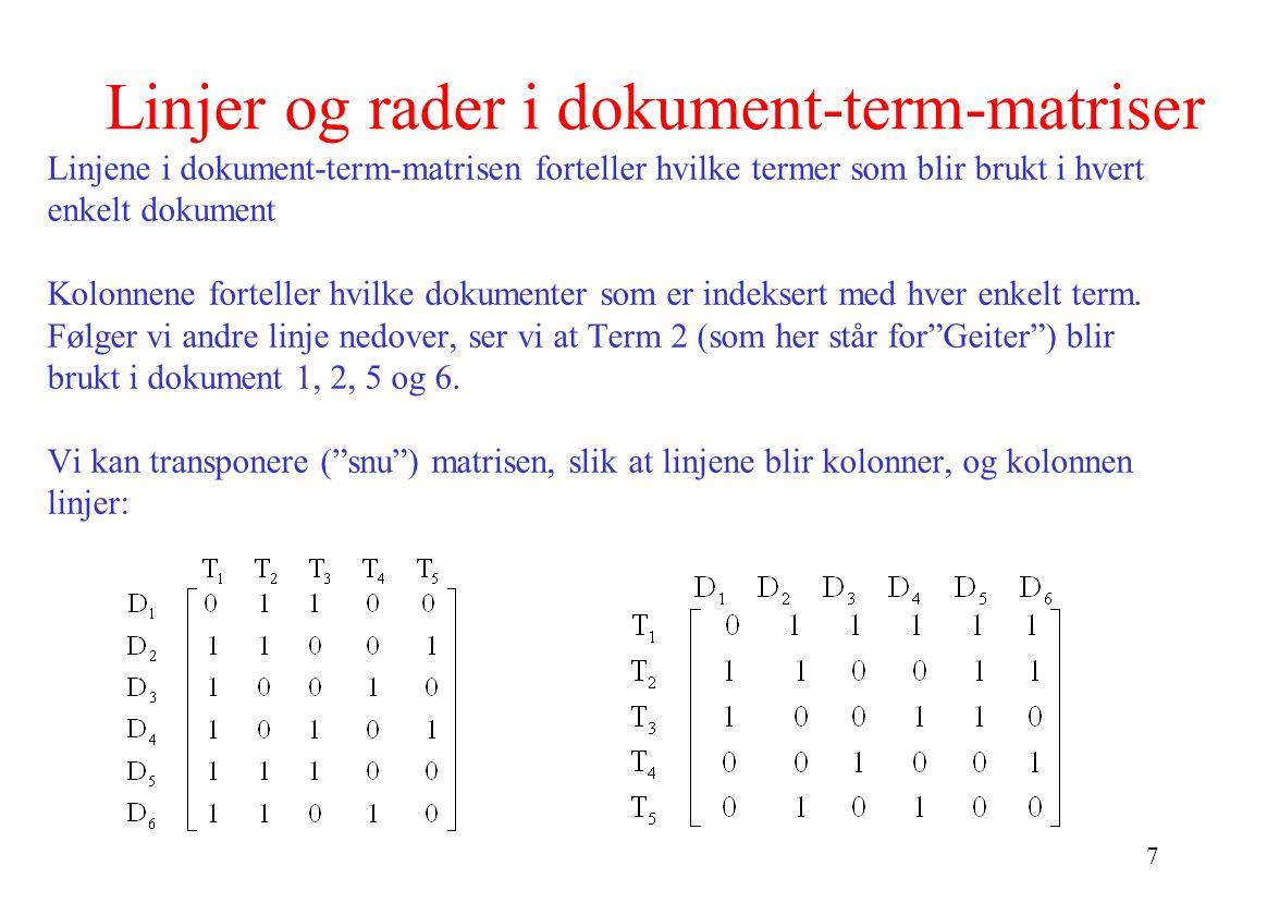 7 Linjer og rader i dokument-term-matriser Linjene i dokument-term-matrisen forteller hvilke termer som blir brukt i hvert enkelt dokument Kolonnene f