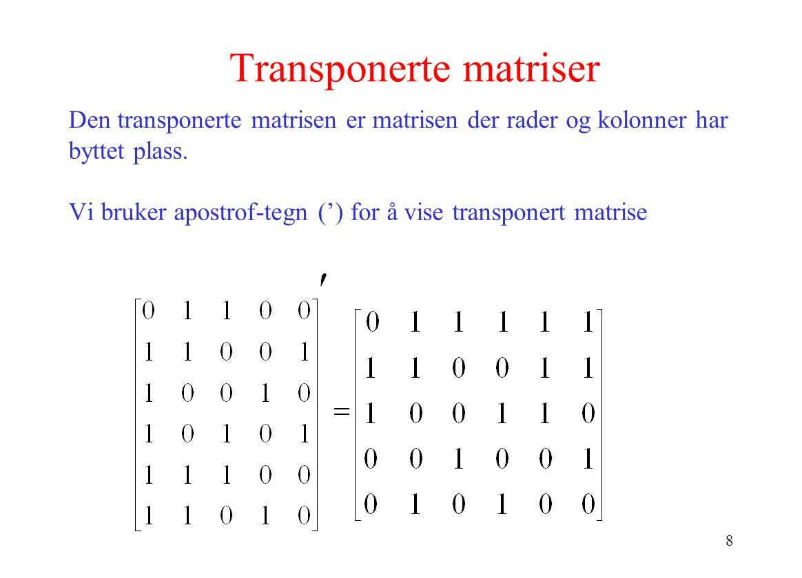 8 Transponerte matriser Den transponerte matrisen er matrisen der rader og kolonner har byttet plass. Vi bruker apostrof-tegn (') for å vise transpone