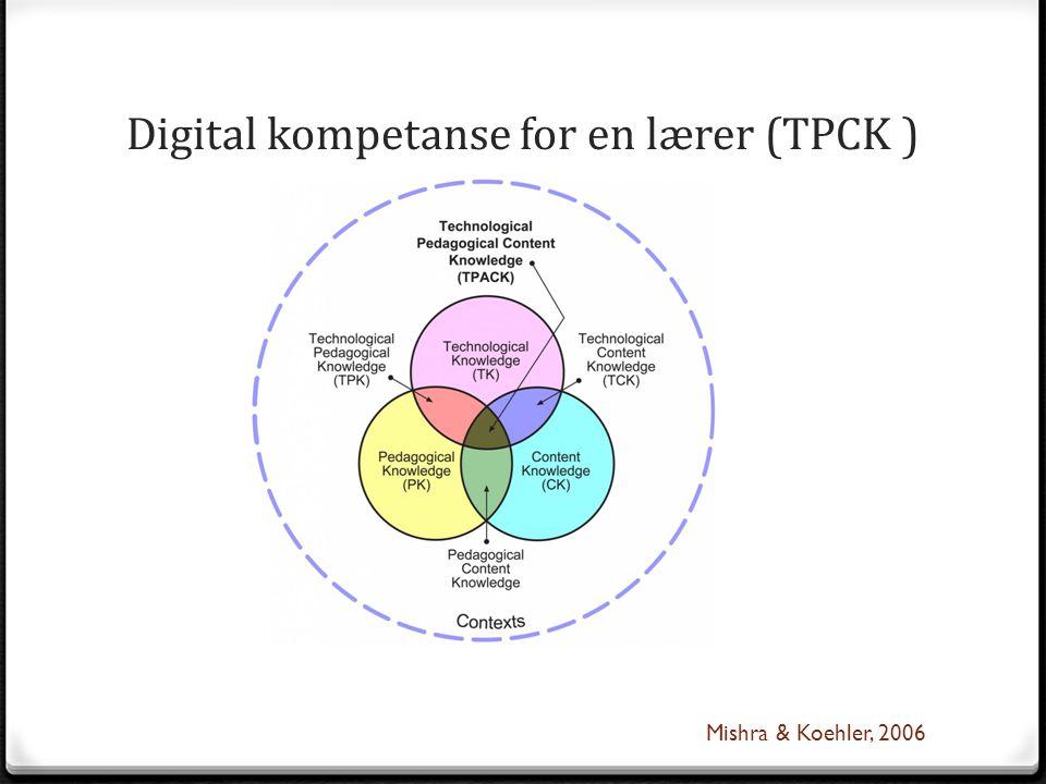 Digital kompetanse for en lærer (TPCK ) Mishra & Koehler, 2006