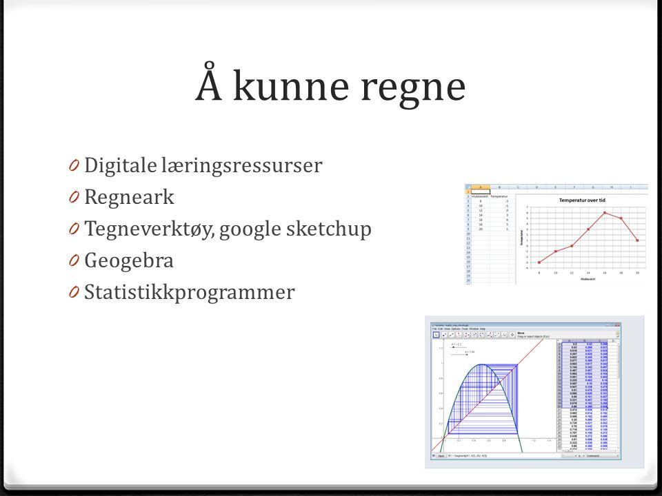 Å kunne regne 0 Digitale læringsressurser 0 Regneark 0 Tegneverktøy, google sketchup 0 Geogebra 0 Statistikkprogrammer