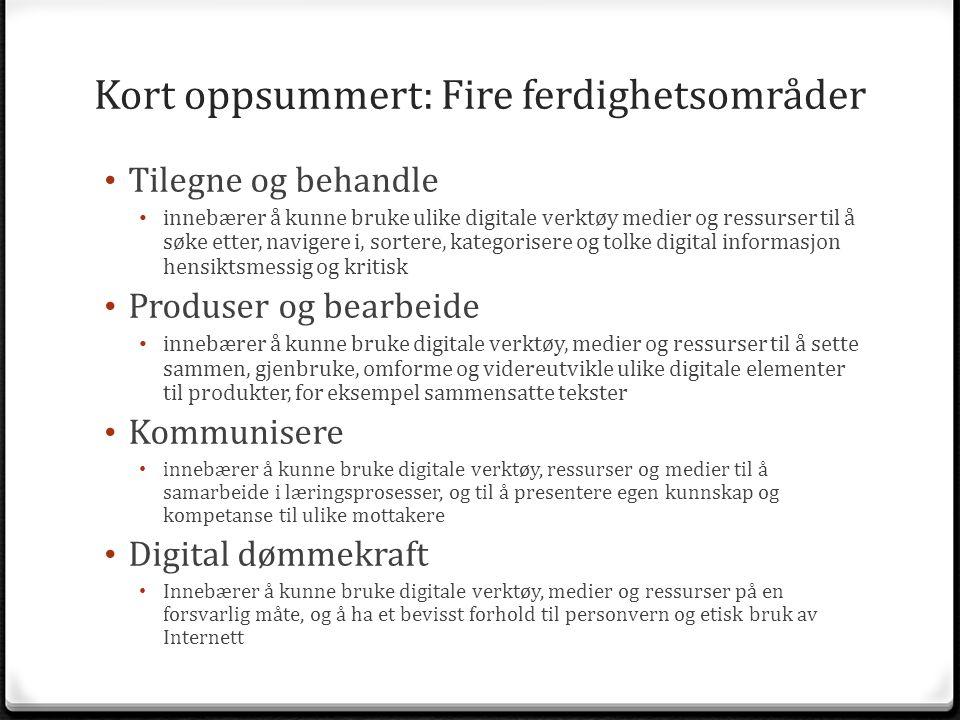 Kort oppsummert: Fire ferdighetsområder Tilegne og behandle innebærer å kunne bruke ulike digitale verktøy medier og ressurser til å søke etter, navig