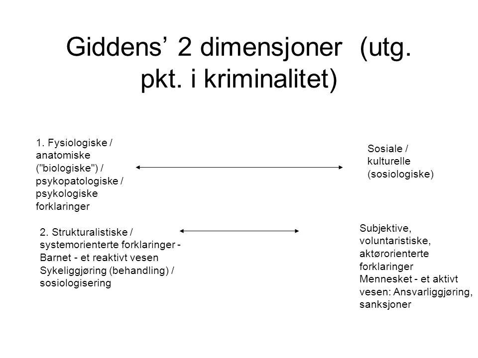 Giddens' 2 dimensjoner (utg. pkt. i kriminalitet) 1. Fysiologiske / anatomiske (