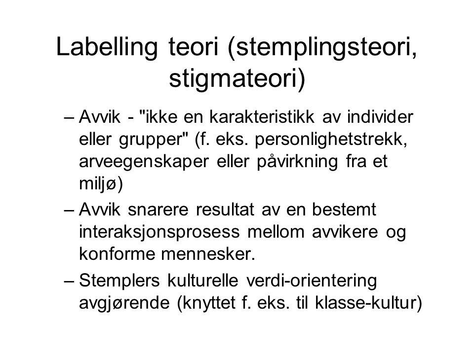 Labelling teori (stemplingsteori, stigmateori) –Avvik -