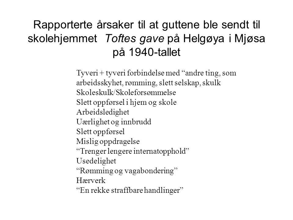 """Rapporterte årsaker til at guttene ble sendt til skolehjemmet Toftes gave på Helgøya i Mjøsa på 1940-tallet Tyveri + tyveri forbindelse med """"andre tin"""