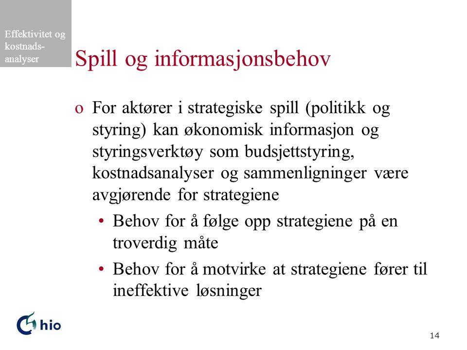 Effektivitet og kostnads- analyser 14 Spill og informasjonsbehov oFor aktører i strategiske spill (politikk og styring) kan økonomisk informasjon og s