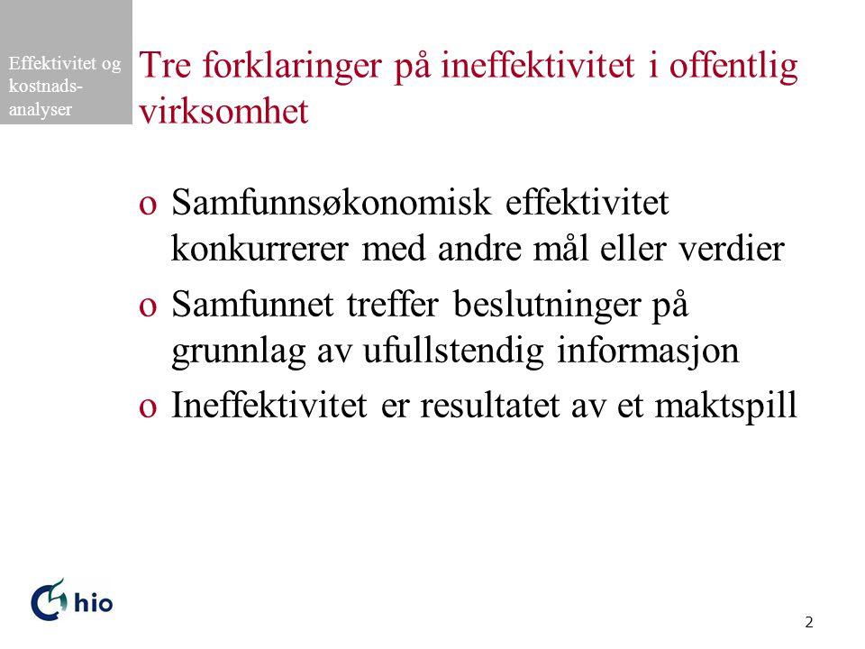 Effektivitet og kostnads- analyser 13 Eksempel på budsjettspill (forts.) Staten KommunenHardMyk HardS1 a (øk.