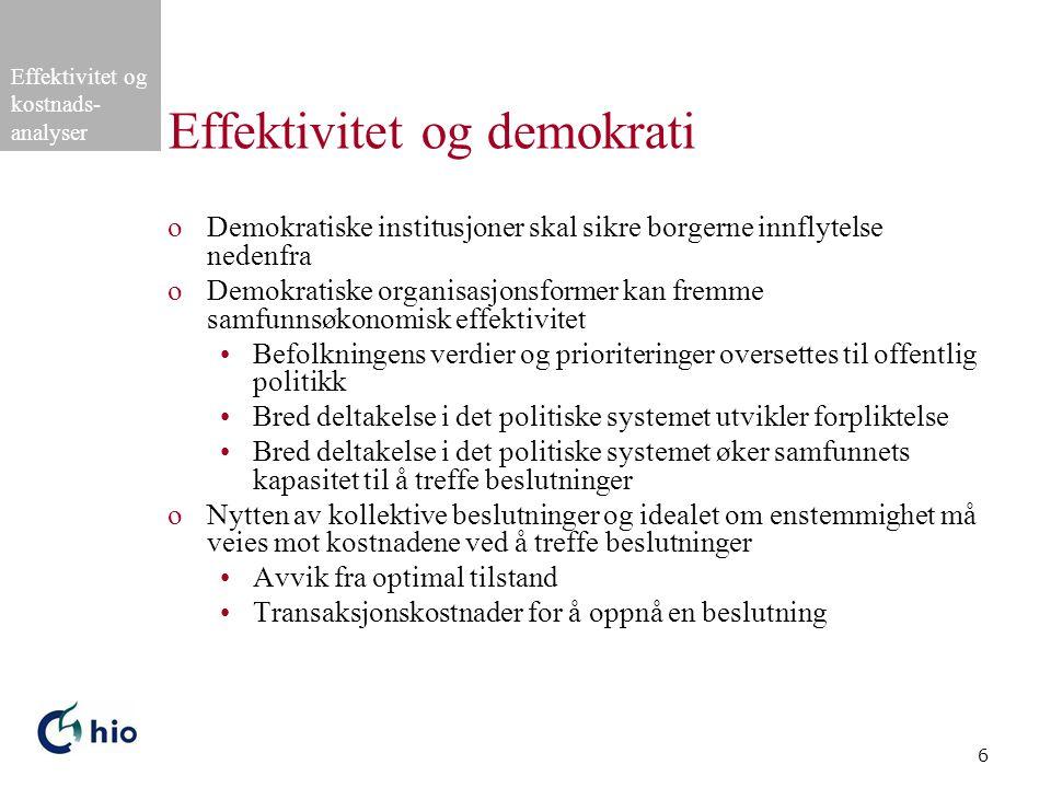 Effektivitet og kostnads- analyser 6 Effektivitet og demokrati oDemokratiske institusjoner skal sikre borgerne innflytelse nedenfra oDemokratiske orga