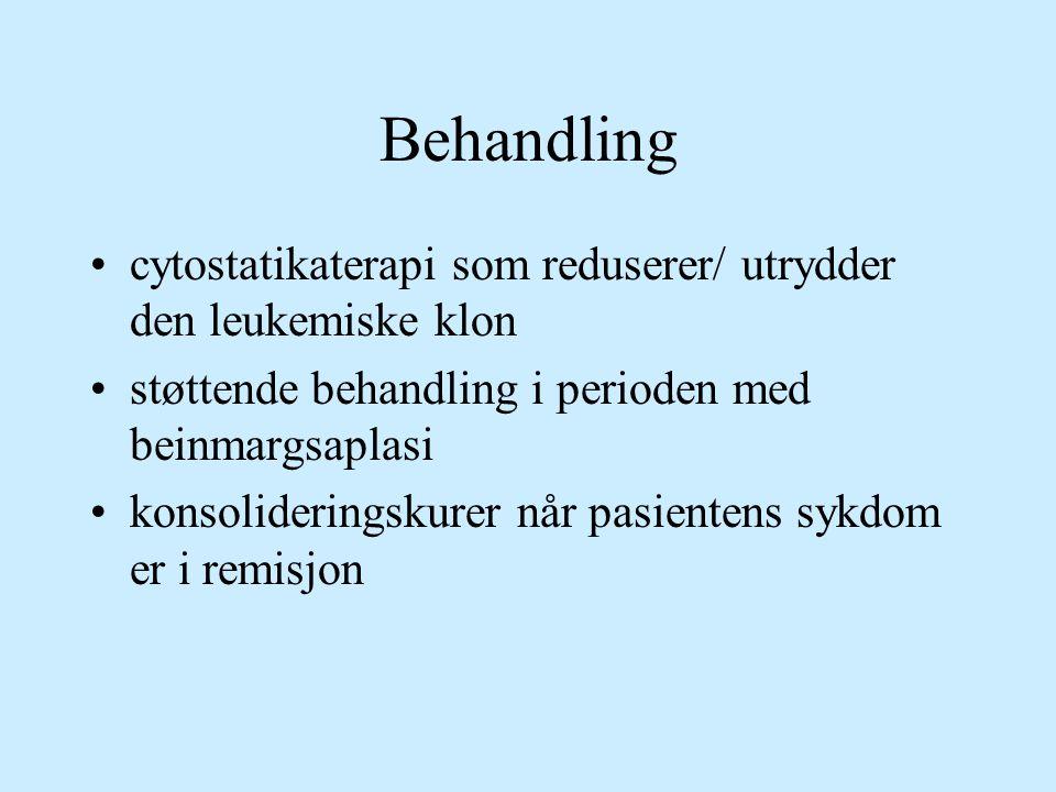 Behandling cytostatikaterapi som reduserer/ utrydder den leukemiske klon støttende behandling i perioden med beinmargsaplasi konsolideringskurer når p
