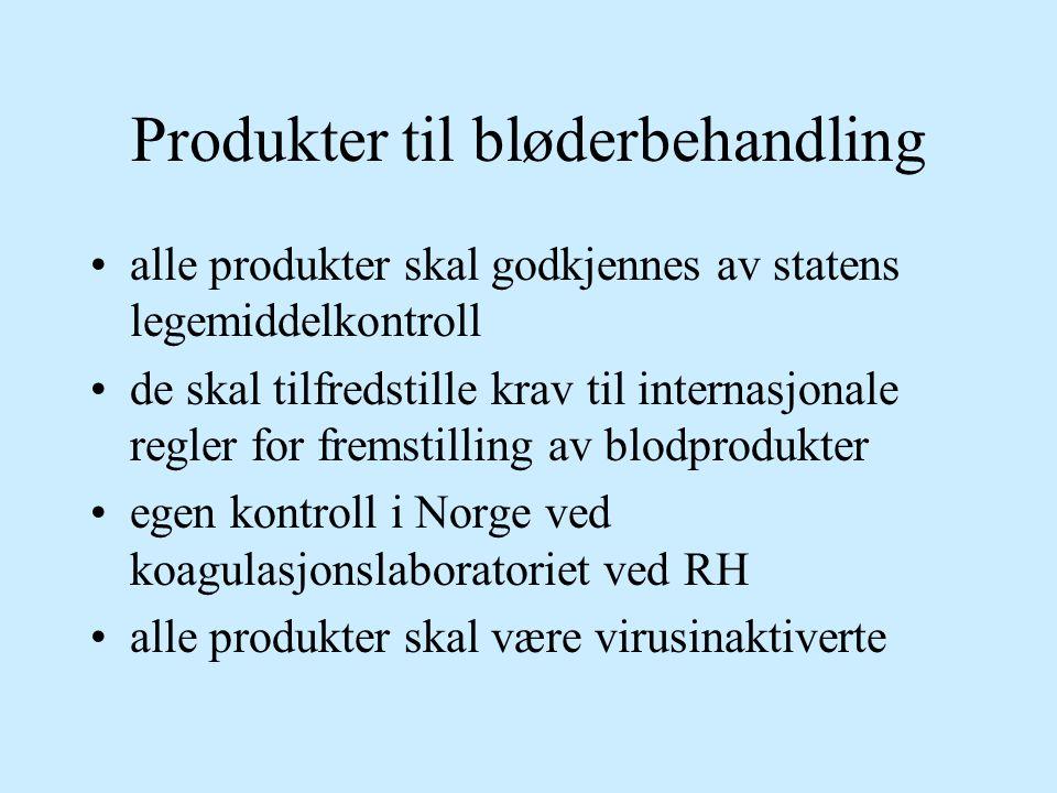Produkter til bløderbehandling alle produkter skal godkjennes av statens legemiddelkontroll de skal tilfredstille krav til internasjonale regler for f