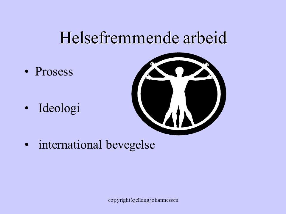 copyright kjellaug johannessen Helsefremmende arbeid Prosess Ideologi international bevegelse
