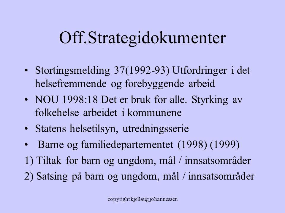 copyright kjellaug johannessen Off.Strategidokumenter Stortingsmelding 37(1992-93) Utfordringer i det helsefremmende og forebyggende arbeid NOU 1998:1