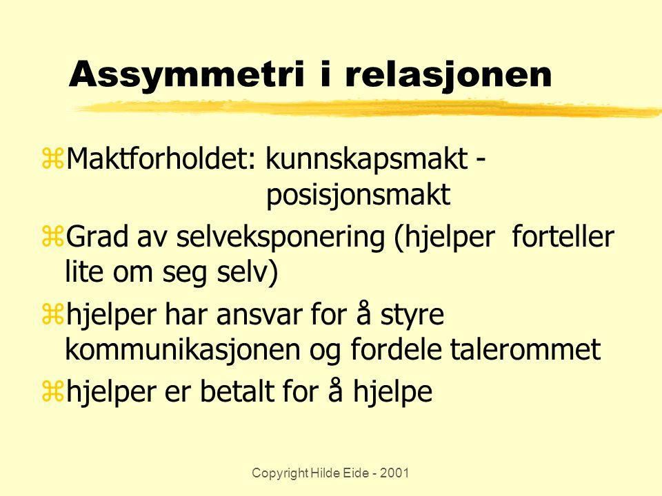 Copyright Hilde Eide - 2001 Assymmetri i relasjonen zMaktforholdet: kunnskapsmakt - posisjonsmakt zGrad av selveksponering (hjelper forteller lite om