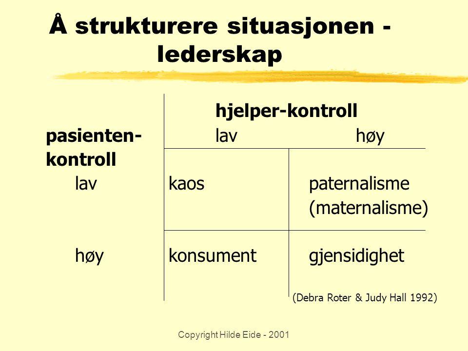 Copyright Hilde Eide - 2001 Å strukturere situasjonen - lederskap hjelper-kontroll pasienten-lavhøy kontroll lavkaospaternalisme (maternalisme) høykon