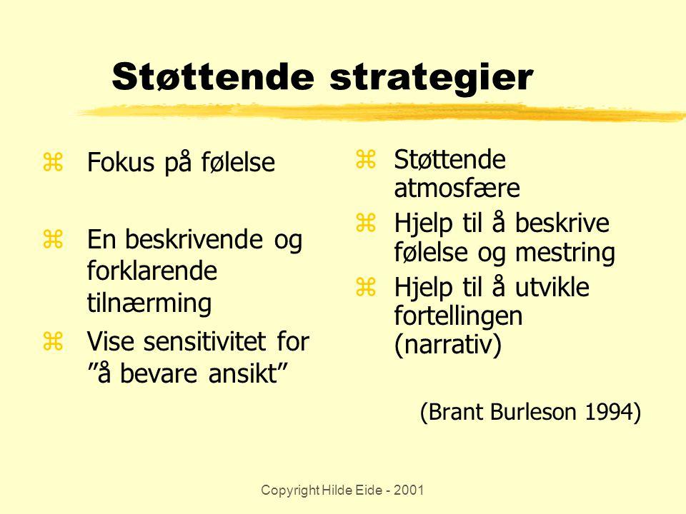 """Copyright Hilde Eide - 2001 Støttende strategier zFokus på følelse zEn beskrivende og forklarende tilnærming zVise sensitivitet for """"å bevare ansikt"""""""