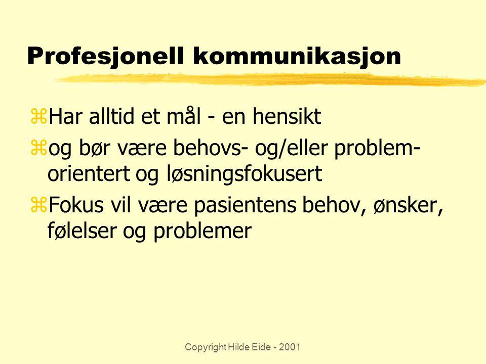 Copyright Hilde Eide - 2001 Profesjonell kommunikasjon zHar alltid et mål - en hensikt zog bør være behovs- og/eller problem- orientert og løsningsfok