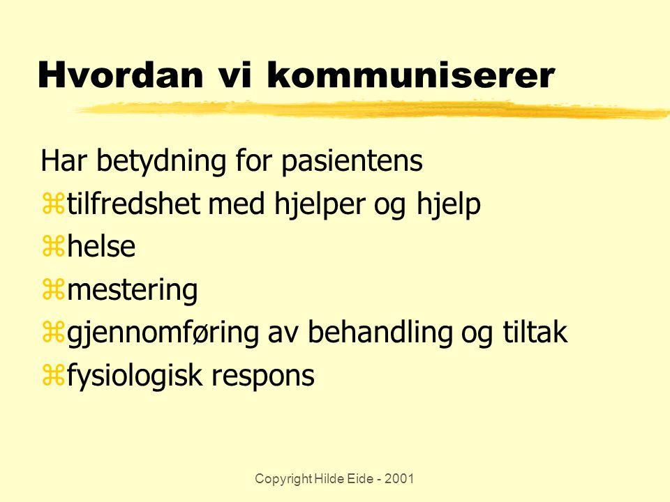 Copyright Hilde Eide - 2001 Hvordan vi kommuniserer Har betydning for pasientens ztilfredshet med hjelper og hjelp zhelse zmestering zgjennomføring av