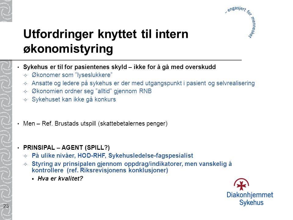 """23 Utfordringer knyttet til intern økonomistyring Sykehus er til for pasientenes skyld – ikke for å gå med overskudd  Økonomer som """"lyseslukkere""""  A"""