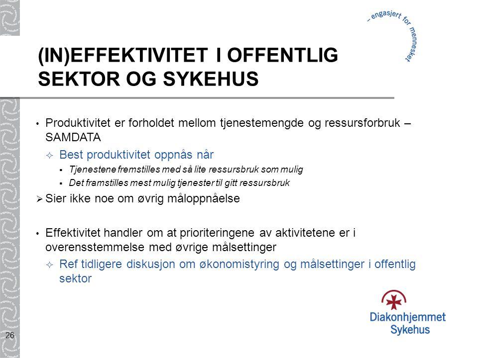 26 (IN)EFFEKTIVITET I OFFENTLIG SEKTOR OG SYKEHUS Produktivitet er forholdet mellom tjenestemengde og ressursforbruk – SAMDATA  Best produktivitet op