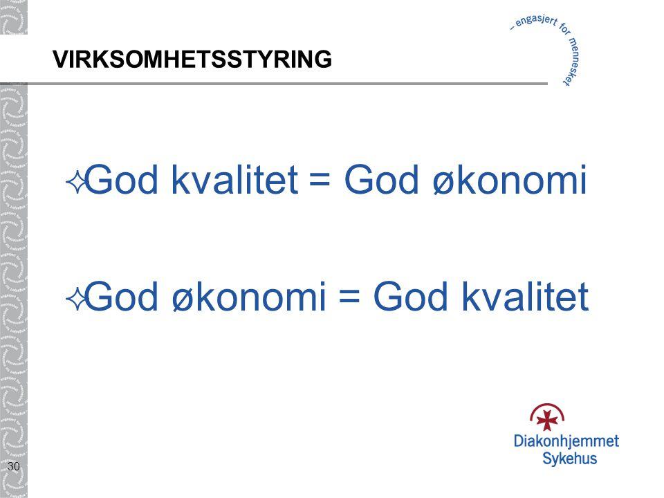 30 VIRKSOMHETSSTYRING  God kvalitet = God økonomi  God økonomi = God kvalitet