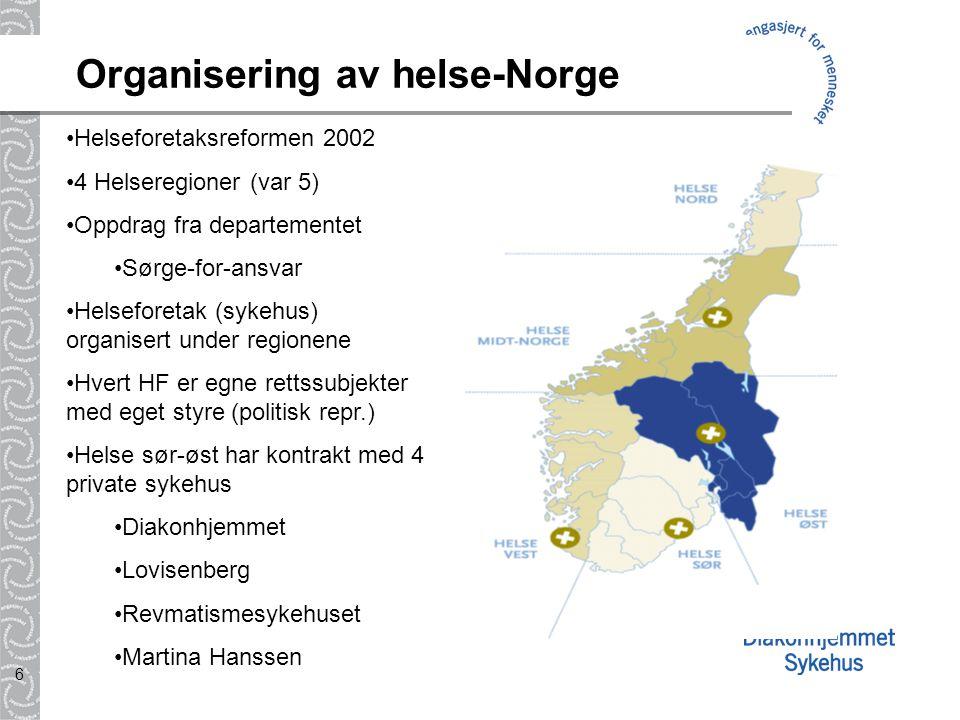 6 Organisering av helse-Norge Helseforetaksreformen 2002 4 Helseregioner (var 5) Oppdrag fra departementet Sørge-for-ansvar Helseforetak (sykehus) org