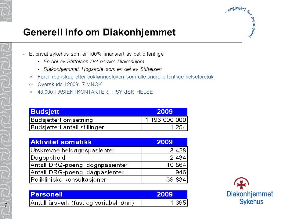 7 Generell info om Diakonhjemmet Et privat sykehus som er 100% finansiert av det offentlige  En del av Stiftelsen Det norske Diakonhjem  Diakonhjemm