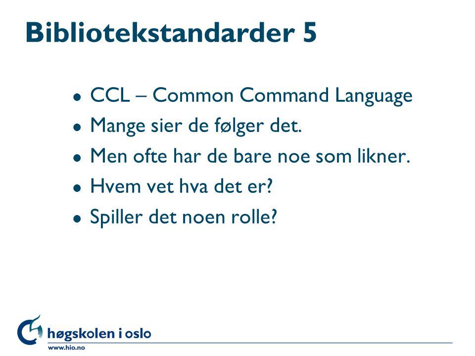 Bibliotekstandarder 4 l AACR 2 –Ble til i en annen tid (hva trenger du ordningsord til i dag for eksempel?) –Hva er ordningsord.