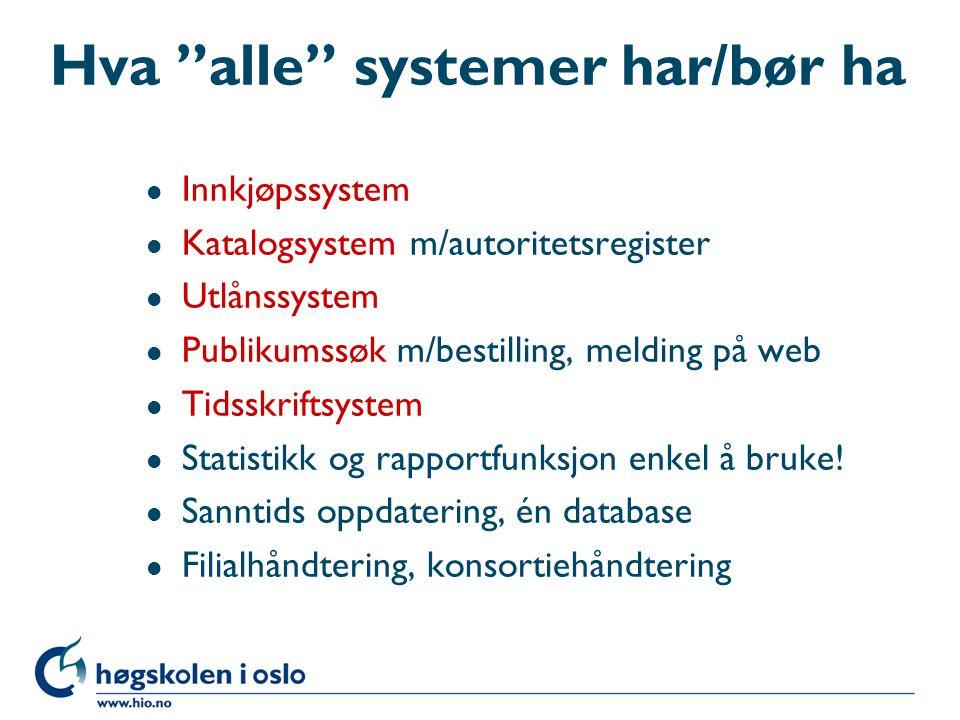 Funksjonalitet i biblioteksystemet l Her skal vi se på: –Hva alle systemer har/bør ha –Hva noen systemer har –Nye tjenester –Bibliotekmarkedet –Biblioteksystem-markedet