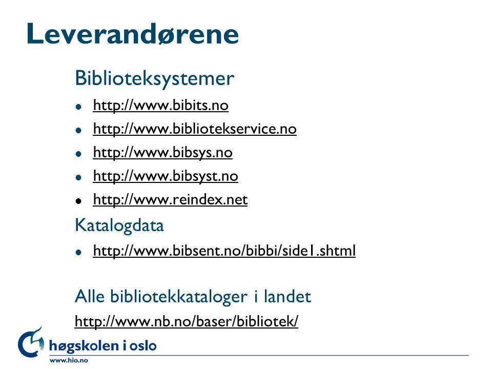 Forslag til videre lesning l http://www.biblio-tech.com/ (teknisk web-mag., månedlig) http://www.biblio-tech.com/ l http://www.ariadne.ac.uk/ (teknisk web-mag., kvartalsvis) http://www.ariadne.ac.uk/ l http://www.libraryjournal.com (generelt, 20 nr årlig) http://www.libraryjournal.com l http://www.nb.no/html/postlister.html (postlister) http://www.nb.no/html/postlister.html l http://www.nb.no/ (Nasjonalbiblioteket) http://www.nb.no/ l Norsk digitalt bibliotek Norsk digitalt bibliotek http://www.nb.no/paradigma/ (Paradigme-prosjektet) http://www.nb.no/paradigma/ http://www.mgmt.dal.ca/slis/etig/itcolumn/ITZ39.ht m (Z39.50 in your library) http://www.mgmt.dal.ca/slis/etig/itcolumn/ITZ39.ht m