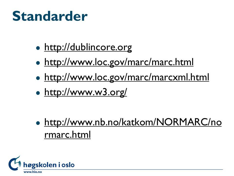 Leverandørene Biblioteksystemer l http://www.bibits.no http://www.bibits.no l http://www.bibliotekservice.no http://www.bibliotekservice.no l http://www.bibsys.no http://www.bibsys.no l http://www.bibsyst.no http://www.bibsyst.no l http://www.reindex.net Katalogdata l http://www.bibsent.no/bibbi/side1.shtml http://www.bibsent.no/bibbi/side1.shtml Alle bibliotekkataloger i landet http://www.nb.no/baser/bibliotek/