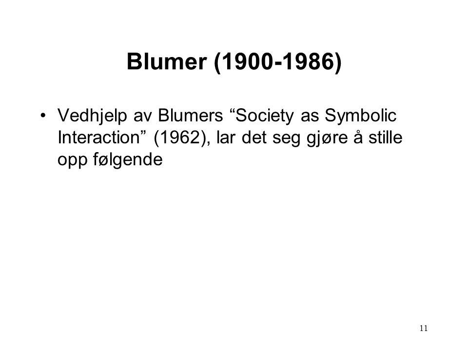 11 Blumer (1900-1986) Vedhjelp av Blumers Society as Symbolic Interaction (1962), lar det seg gjøre å stille opp følgende
