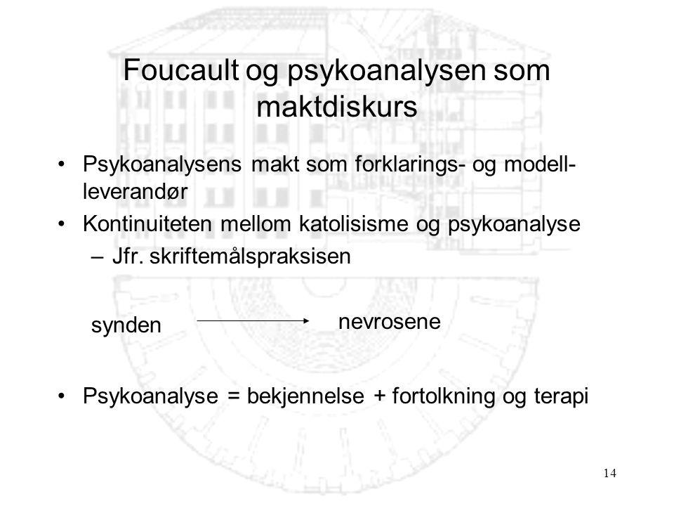 14 Foucault og psykoanalysen som maktdiskurs Psykoanalysens makt som forklarings- og modell- leverandør Kontinuiteten mellom katolisisme og psykoanalyse –Jfr.
