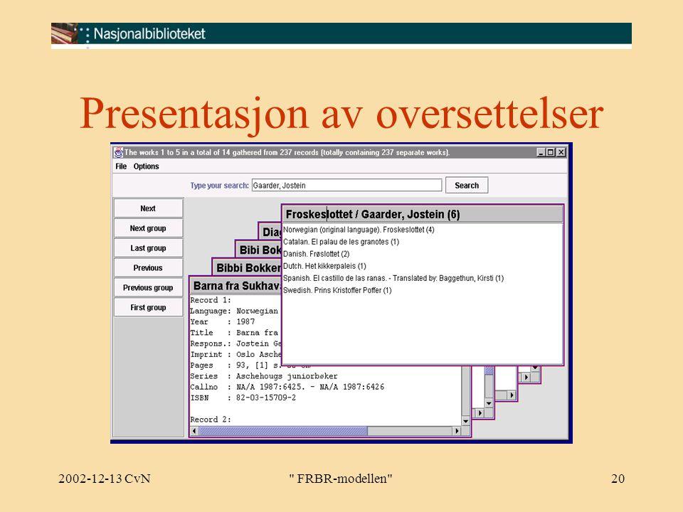 2002-12-13 CvN FRBR-modellen 20 Presentasjon av oversettelser