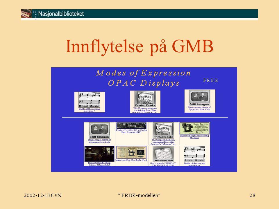 2002-12-13 CvN FRBR-modellen 28 Innflytelse på GMB